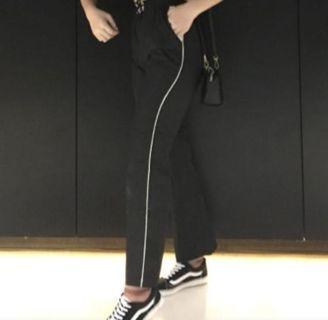 ulzzang black track pants