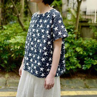 麻棉星星圖案印花衫 兩色