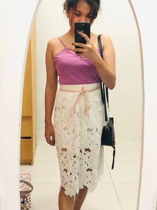 White Floral Long Skirt