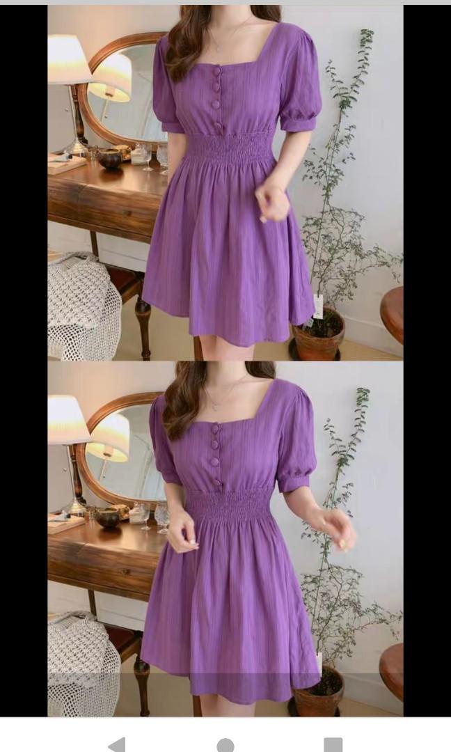 紫色修腰連身裙