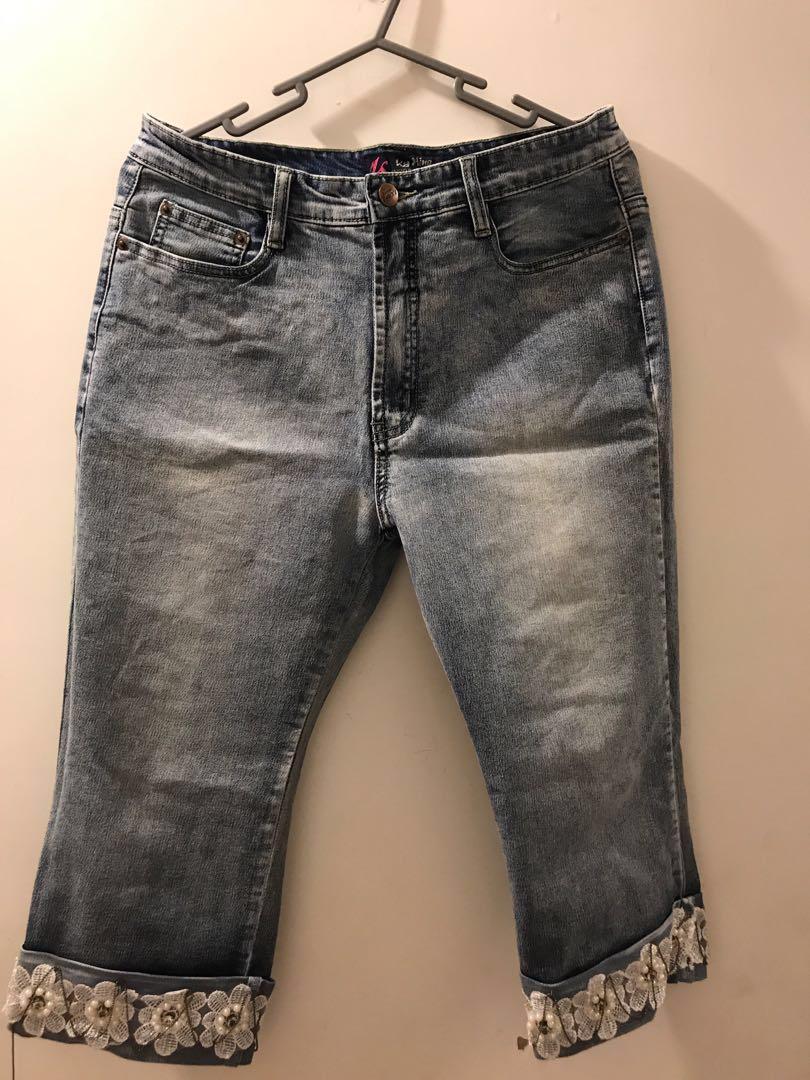 女裝 7分牛仔褲 denim jeans pearl 珍珠