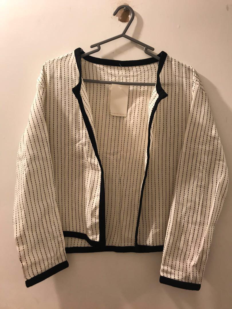 韓國 新沙洞 品牌 CherryKoko 女裝 直間 外套 white striped jacket 返工衫
