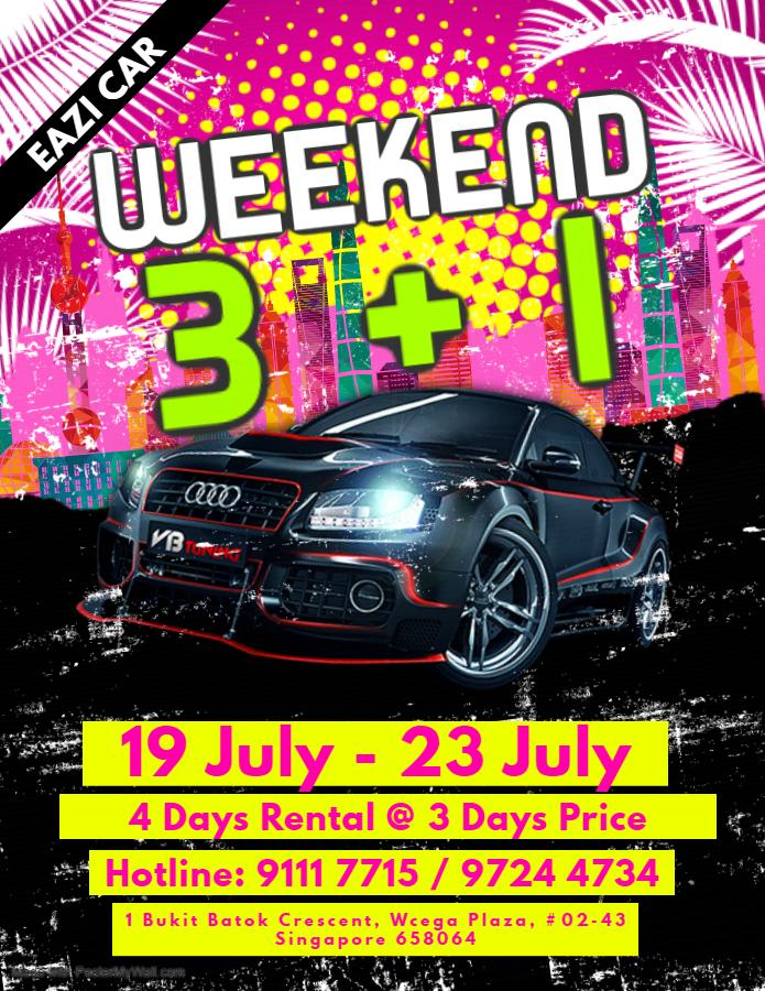 Cheapest Car Rental 3+1 Weekend Hot Promo for First week of May