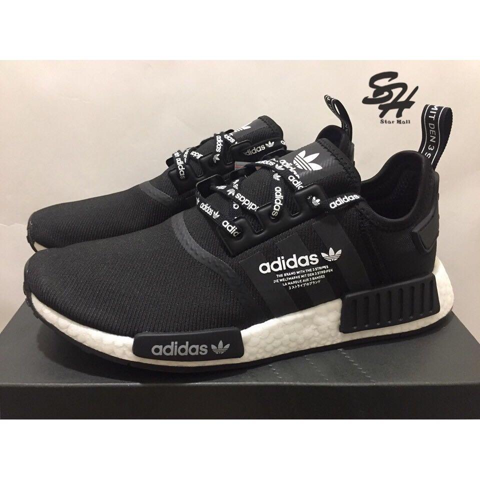 buy online a55af 19a23 ADIDAS NMD R1 LOGO BOOST 黑白文字鞋帶F99711 on Carousell