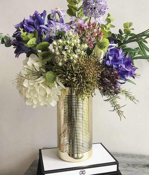 Artificial Flower Arrangement In Gold Vase Business Services Design Marketing On Carousell