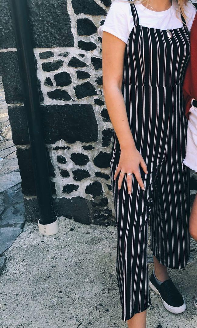 black white and red jumpsuit
