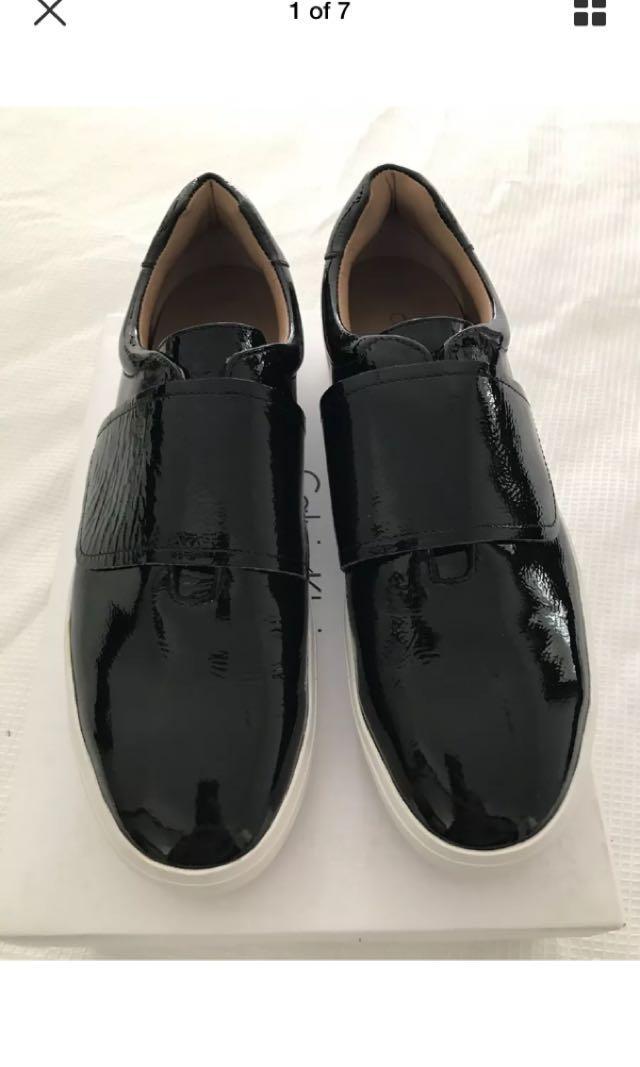 BNIB Calvin Klein patent leather platform sneakers rrp $299