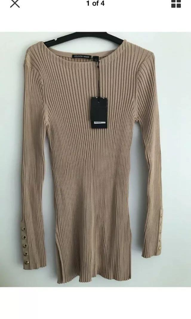 BNWT country road nude ribbed jumper sz L rrp $159