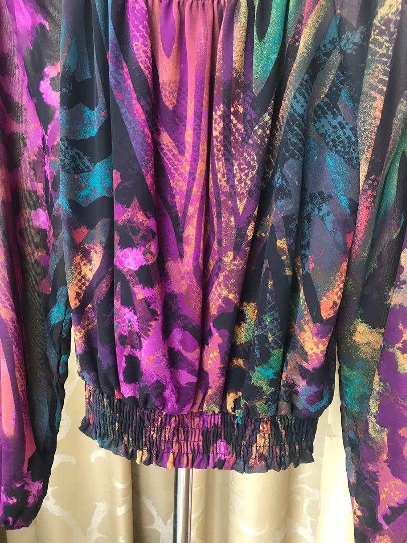 Branded XOXO Tribal Print Long Sleeve Blouse with Elastic Ruffle Bottom