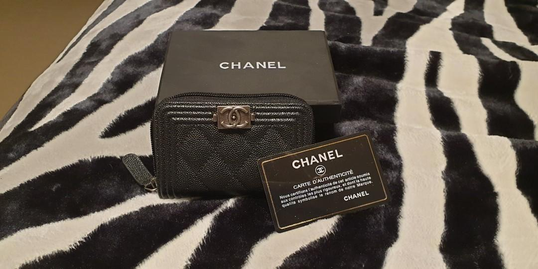 AUTHENTIC Chanel Boy Zipped Card Wallet