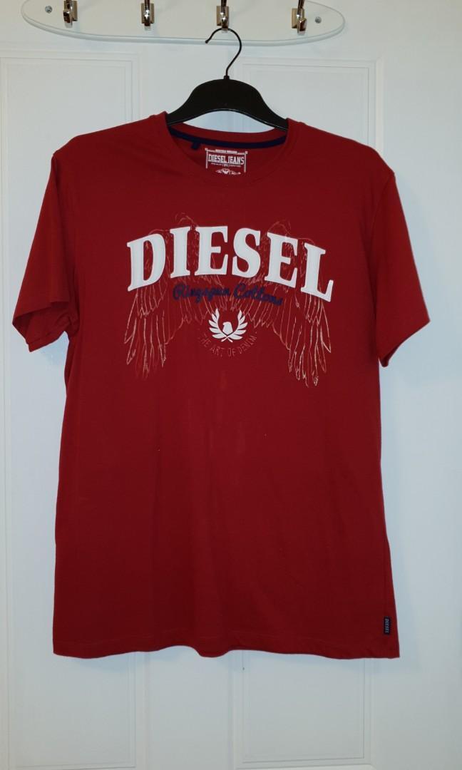 Diesel Jeans Men's Short Sleeve Red T-Shirt, Size XL.