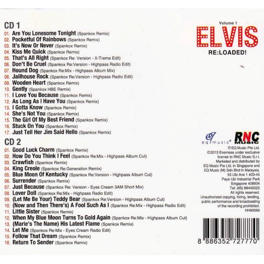 Elvis Presley - Elvis Re:loaded! - Volume 1 Remixed by Spankox CD Free Shipping