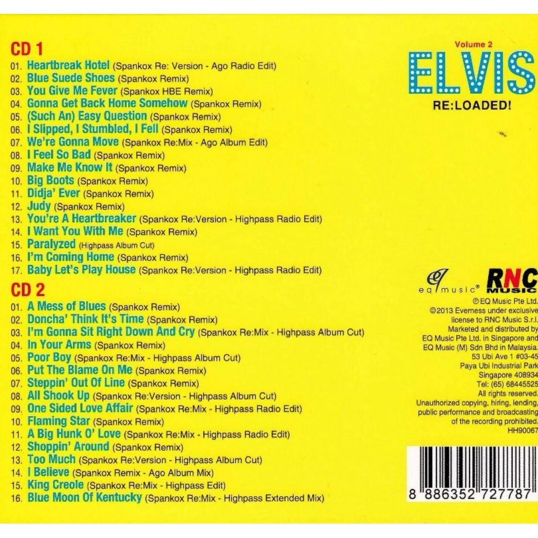 Elvis Presley ‎– Elvis Re:loaded! - Volume 2 Remixed by Spankox CD Free shipping