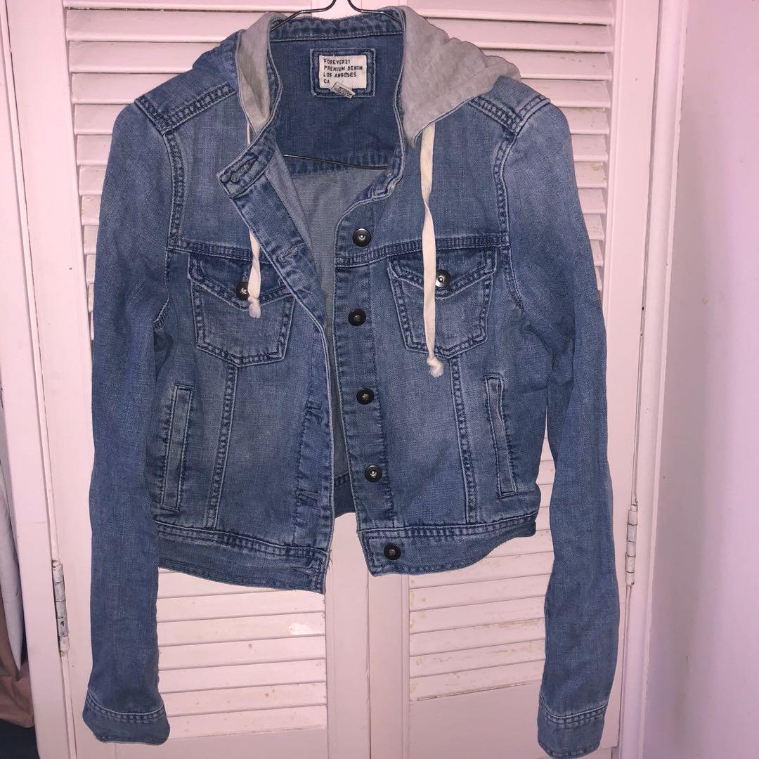 Forever 21 Hoodie Denim Jacket