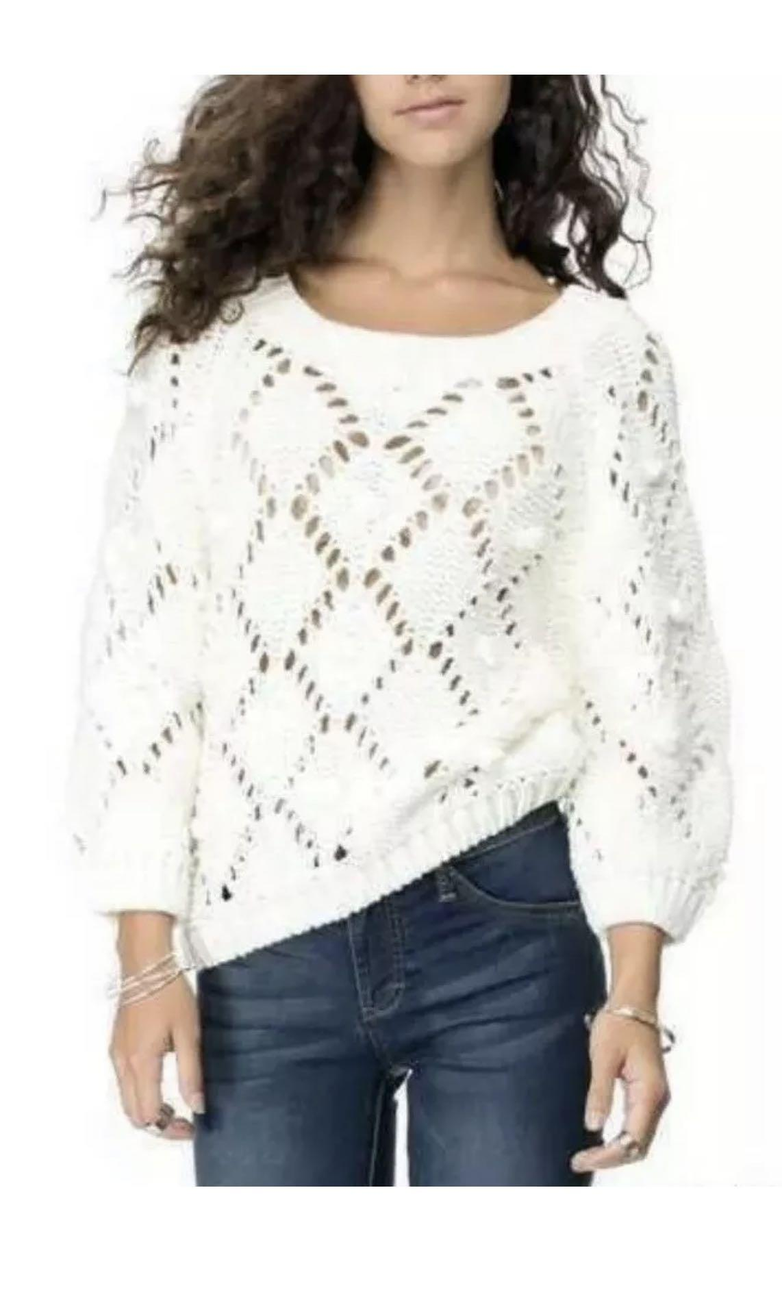 Ladies LIVING DOLL Cream Snow Ball Knit Jumper.  Size Large. NWT