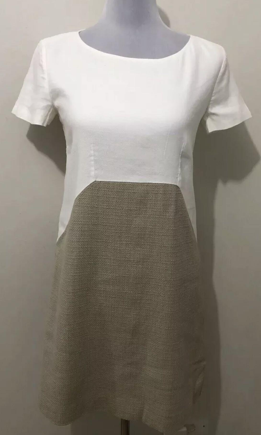Ladies MAX & CO Ivory/Beige Woven Linen Blend Shift Dress. Size 8 UK. $480