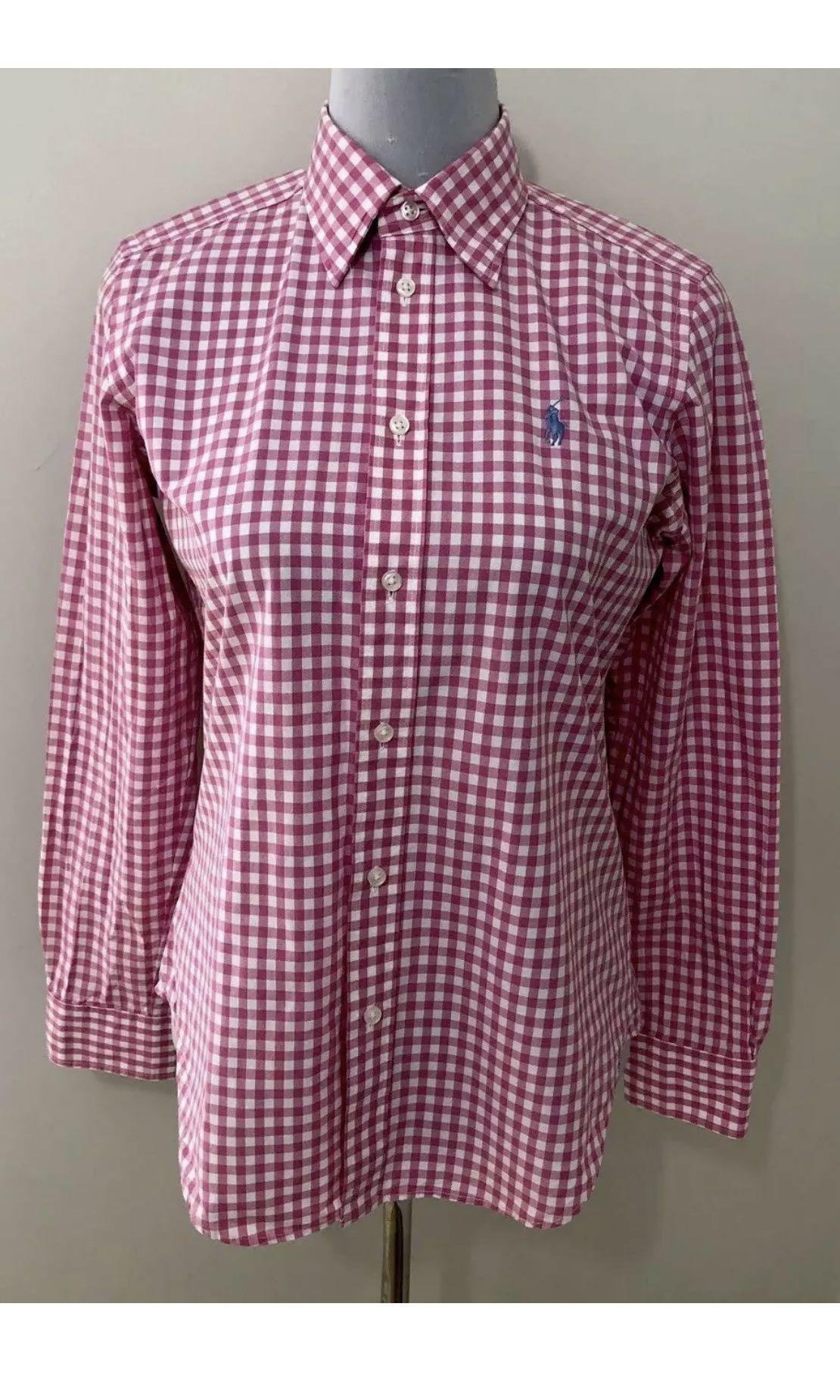 Ladies RALPH LAUREN SPORT Pink Check Shirt. Size 8-10.