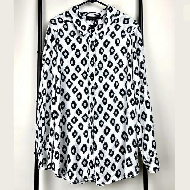 Maggie T sz 12 black white geometric top shirt blouse tunic smart casual work