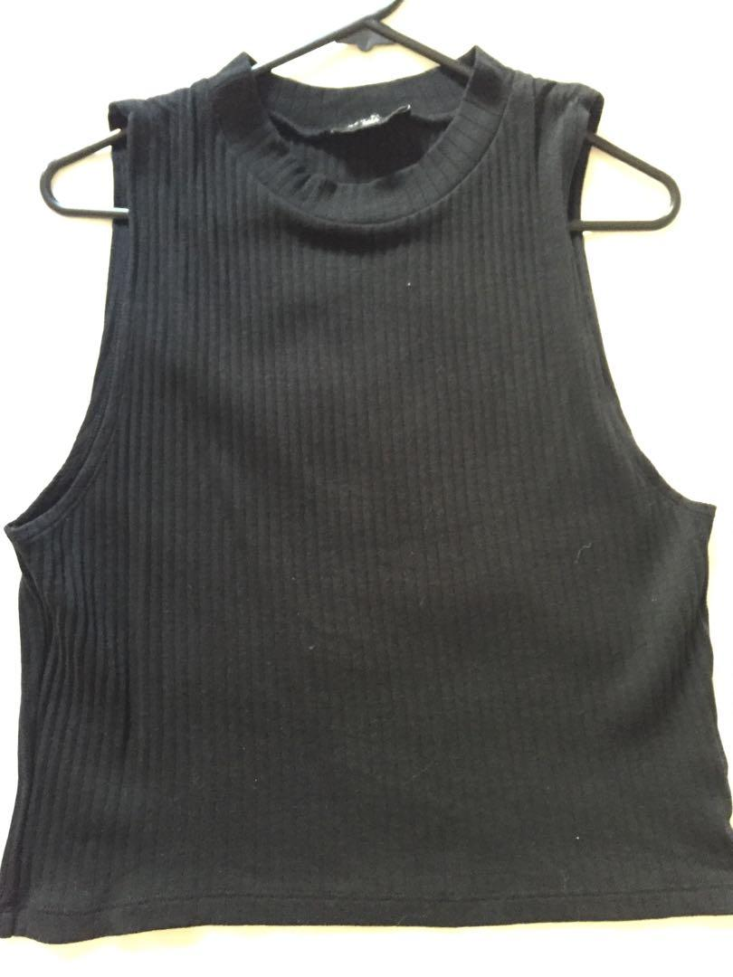 New Look black sleeveless high neck ribbed top size 18
