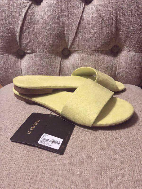 NWT Neon lime slide sandals - 8-8.5