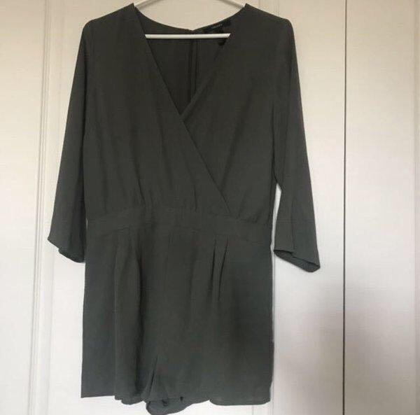 Olive green wrap romper/ playsuit