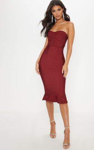 Pretty Little Thing Dark Red Frill Hem Bandage Dress - Size 4
