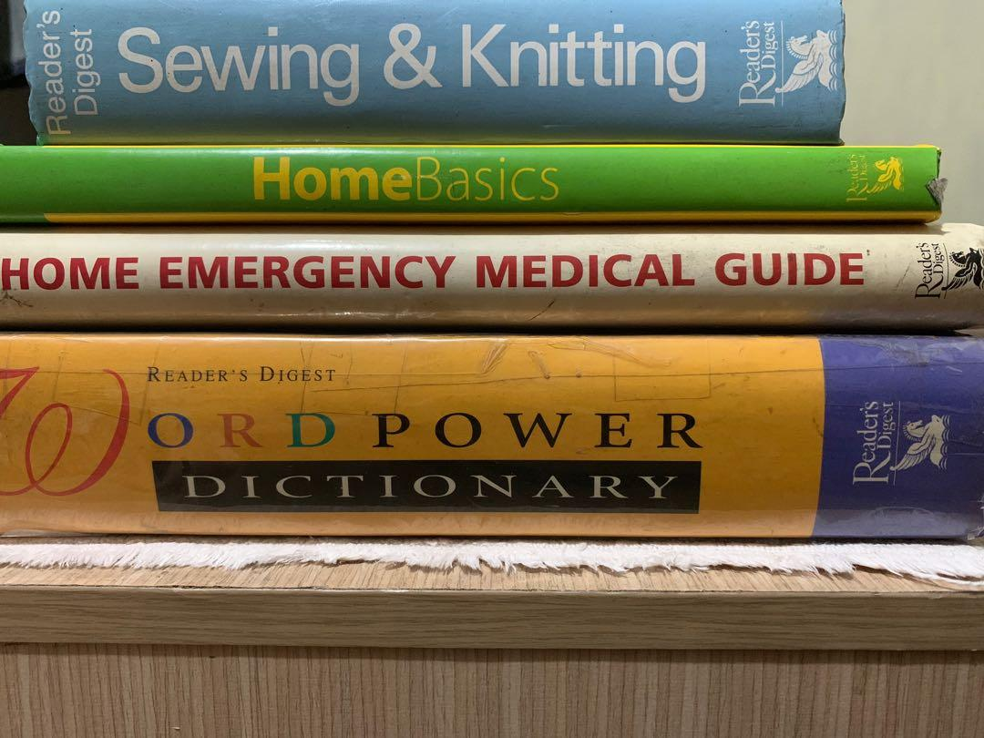 Reader's Digest set of 4 hardbound books on Sewing & Knitting, Home Basics, Home Emergency Medical Guide, Word Power Dictionary