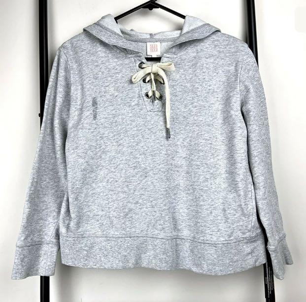 Seed Teen Sport sz 10 grey lace up girl top jumper hooded basic casual