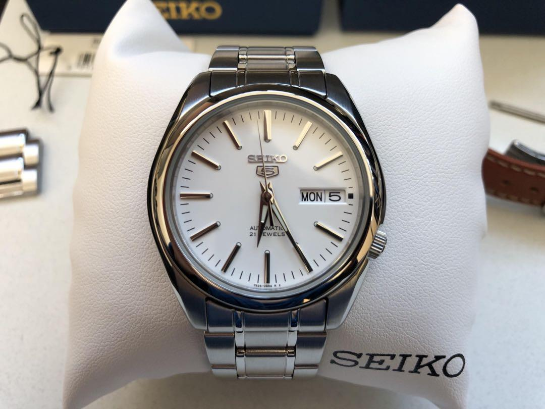 info for cdb4c d62ce Seiko 5 SNKL41K1 Automatic White Dial Watch Stainless Steel ...