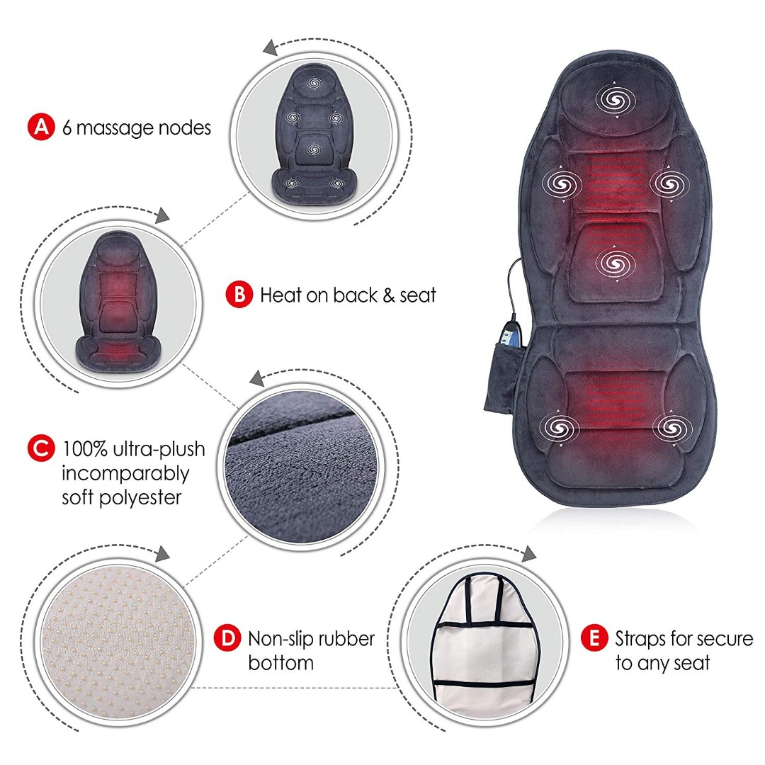 Snailax Sl 262p Vibration Massage Seat Cushion With Heat 6 Vibrating Motors And 3 Therapy Heating Pad Back Massager Massage Chair Pad For Home