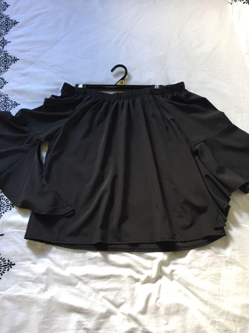 Temt black off shoulder blouse with flounce sleeves size 14
