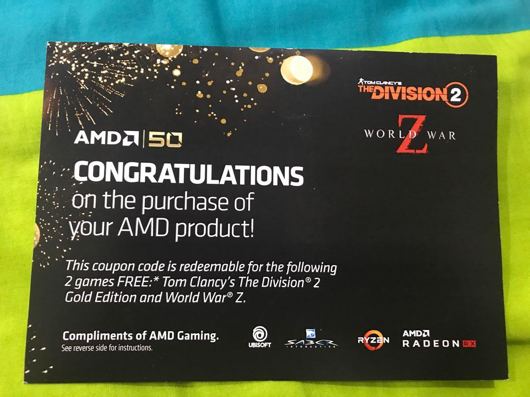 The Division 2 & World War Z (AMD Rewards), Toys & Games