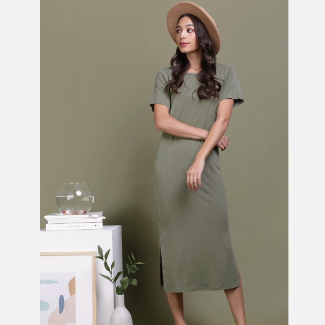 TTR Alison Midi Tee Dress (Olive)
