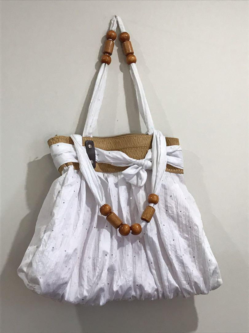 White Sparkle Bag with Polished Timber Bead Handle