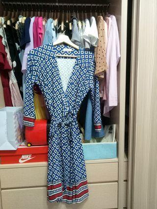 幾何圖綁帶洋裝F/七分袖