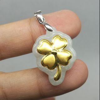 Natural Jadeite Jade Pure Gold Silver Pendant 天然A货翡翠足金银吊坠