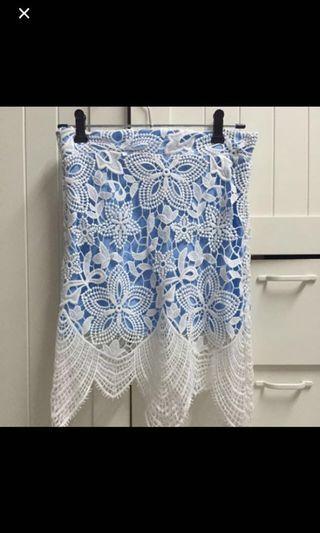 Korean Ulzzang Light blue lace crochet skirt