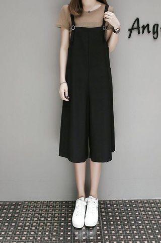 夏裝顯瘦闊腳吊帶褲