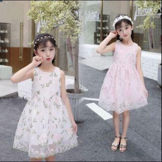 Girl Princess Floral Chiffon Dress