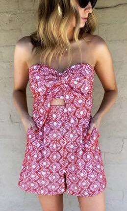 Bardot Palma Red and White Patterned Playsuit