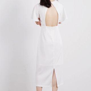 3 colours open bare back slit cut out basic midi bridesmaid dinner work dress