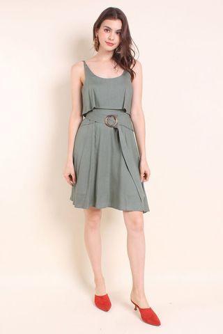 🚚 BNWT Kaia Tier Belted Linen Summer Dress in Sage Green