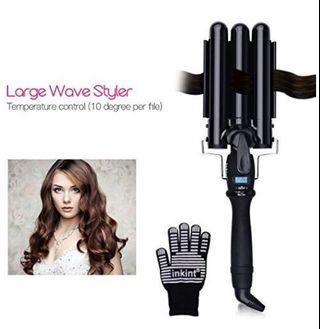 [A157]-inkint Hair Curling Wand Three Barrel Curling Iron with LCD Temperature Display Best Hair Waver for All Hair Types 25mm