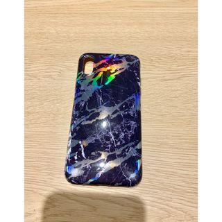 iPhone X Casing Black Marble Pattern