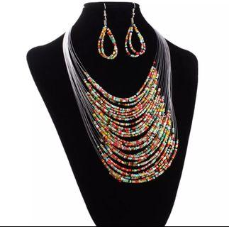 Multicolor 20 layer line Beads Long Necklace Set with  Earrings