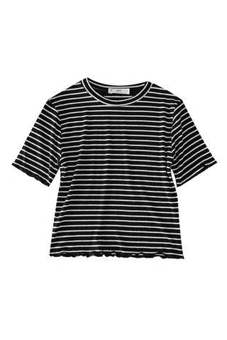 Cropped black and white stripe T-shirt size S