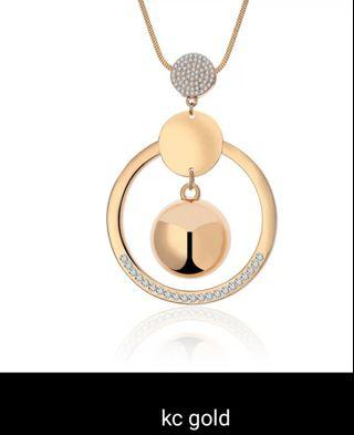 🚚 Jewelry Round Pendant Shining Crystal Long Necklace