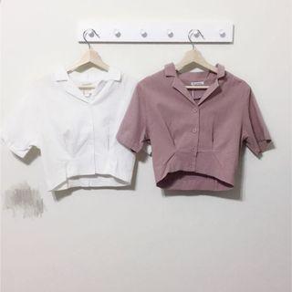 白色短版襯衫