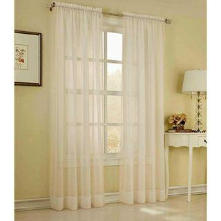 """2 Piece Solid Ivory Sheer Curtains (55"""" x 84"""")"""