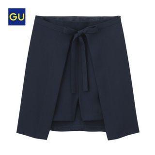 全新GU 兩件式 蝴蝶結綁帶褲裙 (黑M)